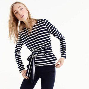 J CREW XS Blue White Striped Crossback Tie Top